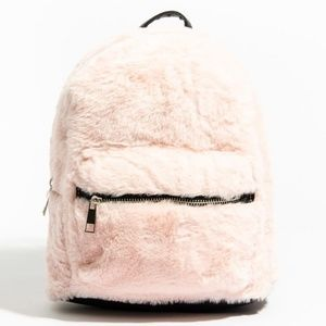 Handbags - NEW pink faux fur mini backpack